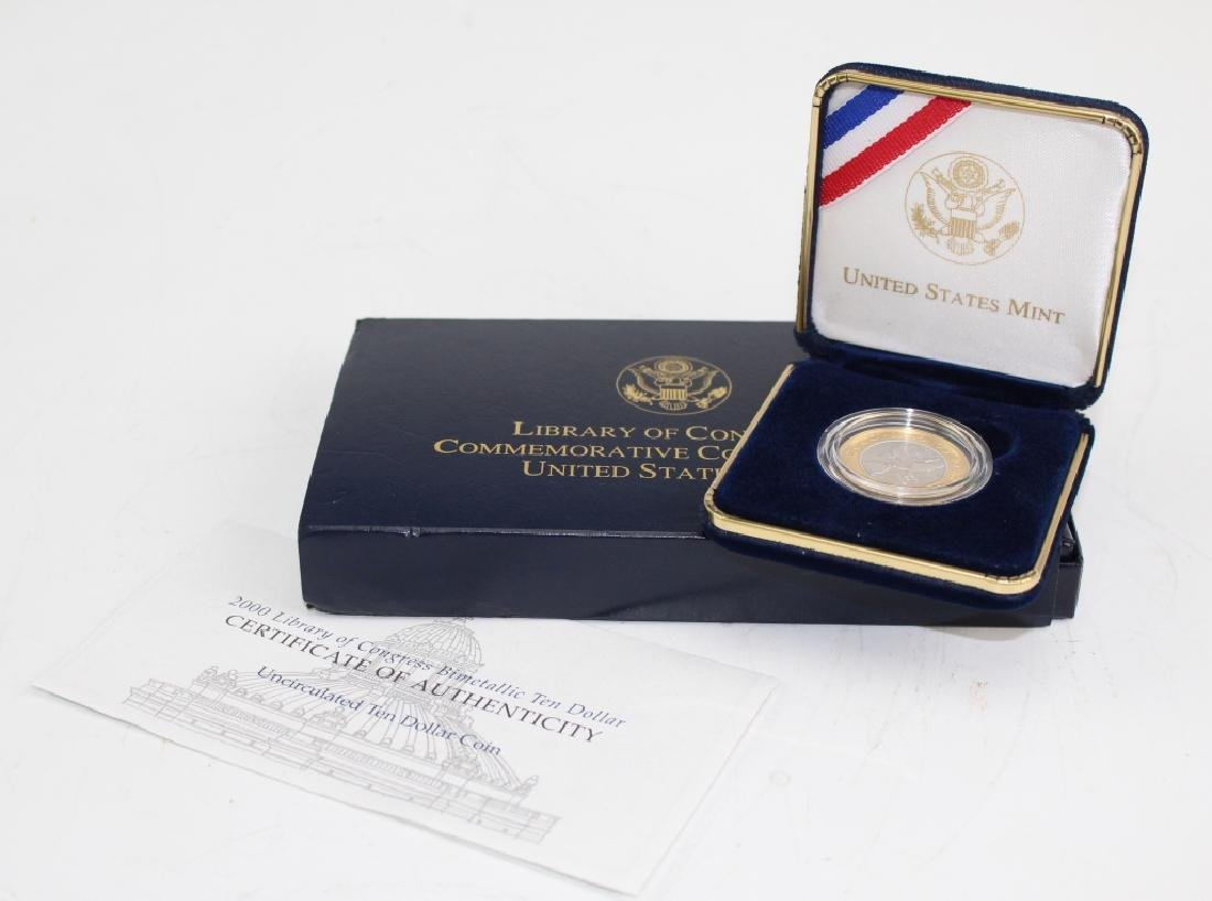 2000 Library Of Congress $10 Au Pt Bimetallic Coin - 3