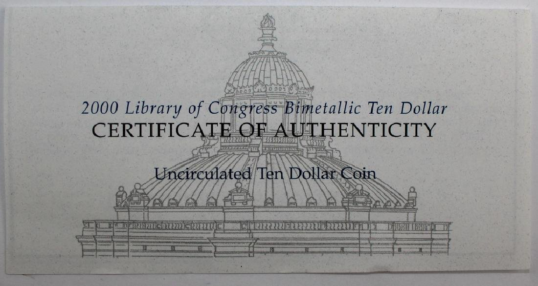 2000 Library Of Congress $10 Au Pt Bimetallic Coin - 4