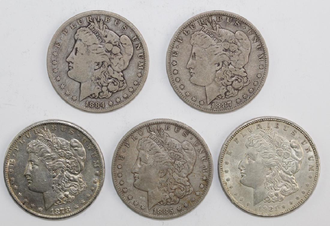 Lot 5 Morgan Silver $1 Dollars United States Coins