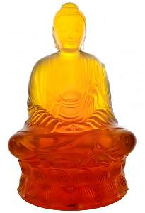 """LALIQUE French Crystal 12"""" L/E Amber Buddha Statue"""