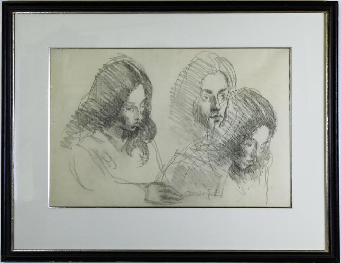 Moses Soyer Original Pencil Study Drawing On Paper