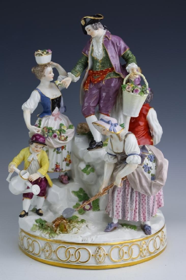 Meissen German Porcelain Figural Group Gardening