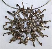 Mid Century Modern Brutalist Orgy Pendant Necklace