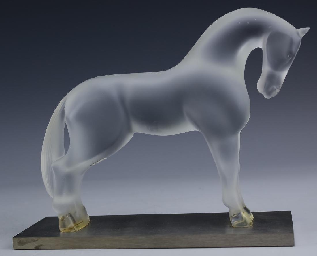 """LALIQUE France Frosted Crystal 7"""" Horse Sculpture"""