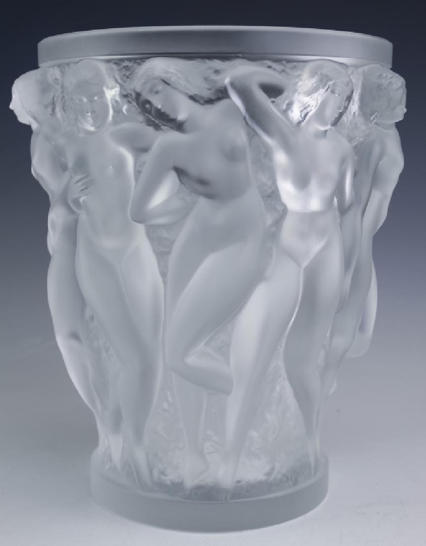 "LALIQUE Bacchantes Nude French Art Glass 9.5"" Vase"