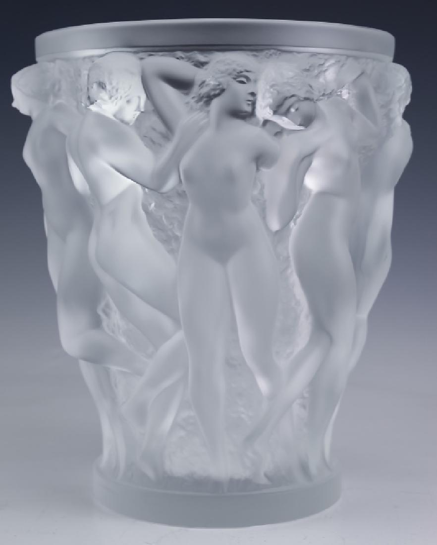 "LALIQUE Bacchantes Nude French Art Glass 9.5"" Vase"