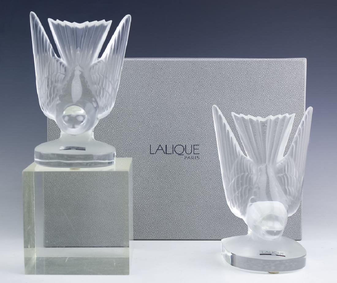 2 Lalique French Crystal Art Glass Bird Sculptures