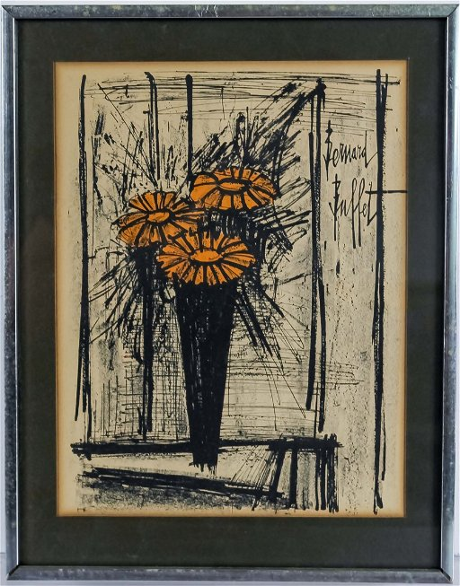 Excellent Bernard Buffet French Flower Art Lithograph Signed Home Interior And Landscaping Ologienasavecom