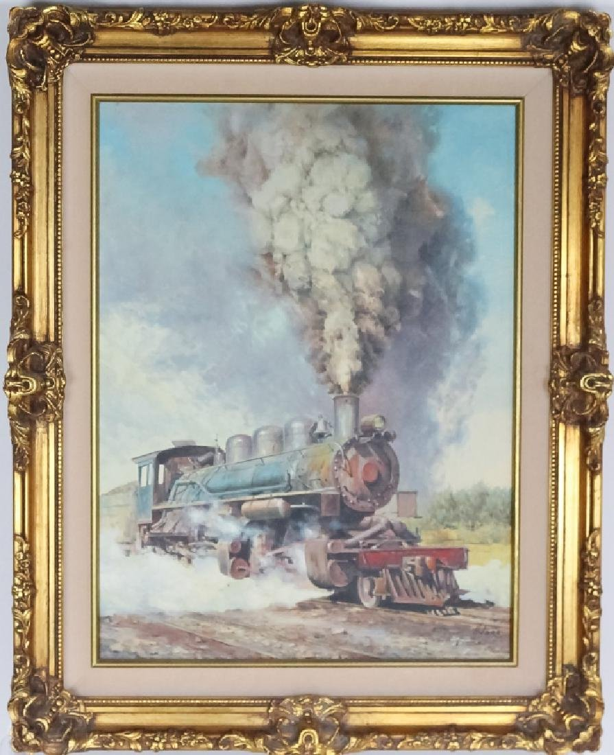 American Western Steam Engine Oil Painting SIGNED