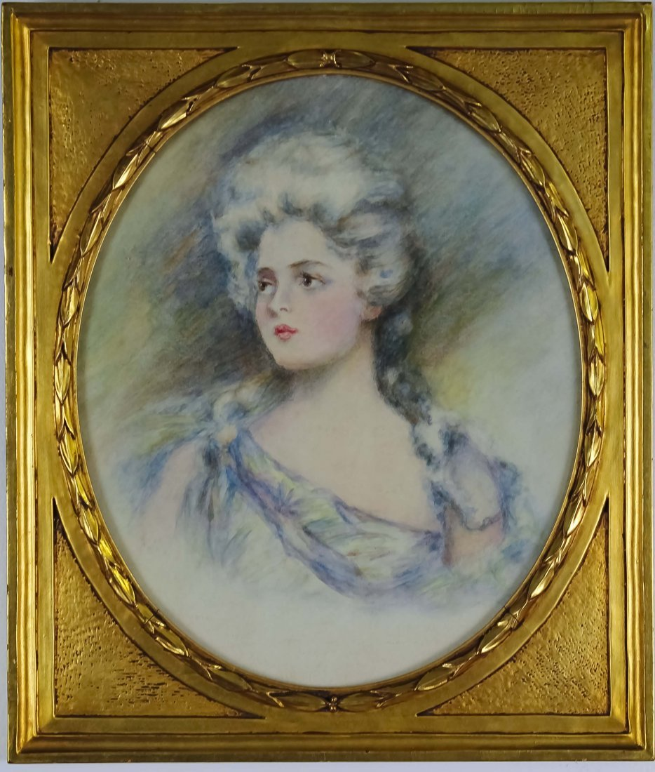 Old Angelica Kauffmann Figural Pastel Art Drawing