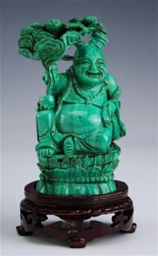 Chinese Export Carved Malachite Buddha 4 Statue
