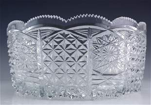 ABC Deep Brilliant Cut Crystal Centerpiece Bowl