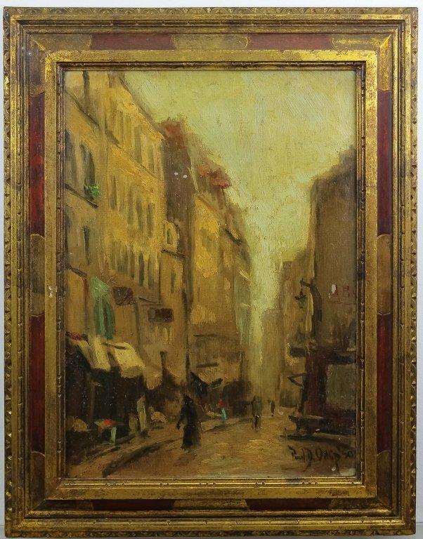 Paul Ortlip b.1926 American Cityscape Oil Painting