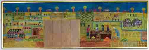 Tamas Galambos 1939 Hungary Farm Scene Painting