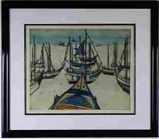 Otto Eglau 19171988 German Fishing Boat Etching