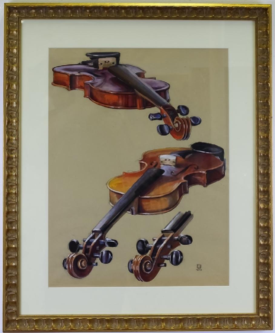 Violin Charcoal Pastel Life Like Painting SIGNED