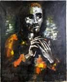 Pierre Mas French Modernist Portrait Oil Painting