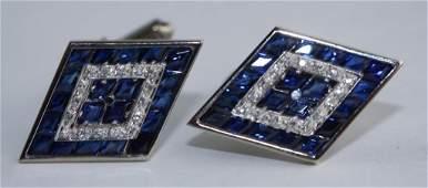 Mens 14k White Gold Diamond  Sapphire Cufflinks