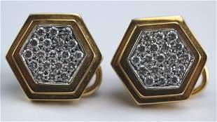 Italian 18k Gold 115 CT TW Diamond Earrings