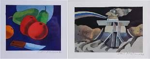 Carl Molno 2 x Original Watercolor Paper Paintings