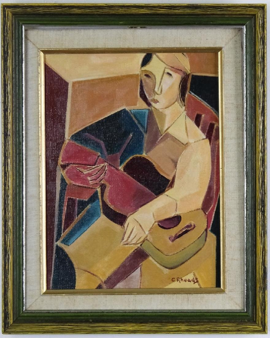 Rhodes Modern Cubist Abstract Musician Painting