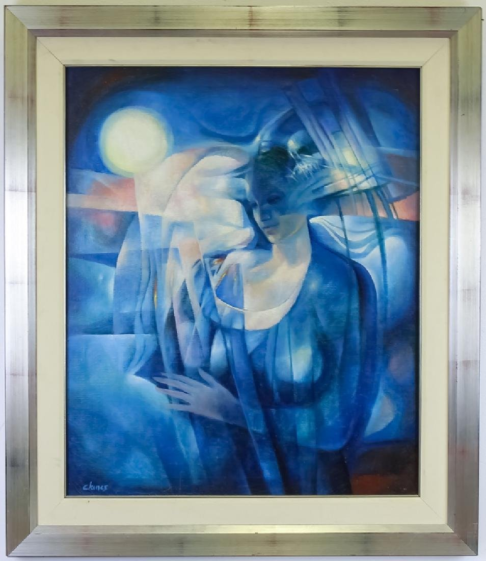 Mystery Artist ? Modern Mystical Lady Oil Painting