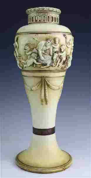 Antique Stellmacher Raised Cherub Reticulated Vase