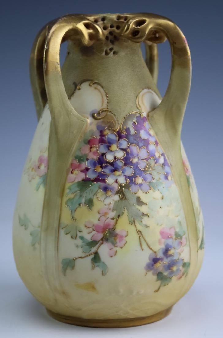 Amphora Nouveau Porcelain Reticulated Handle Vase