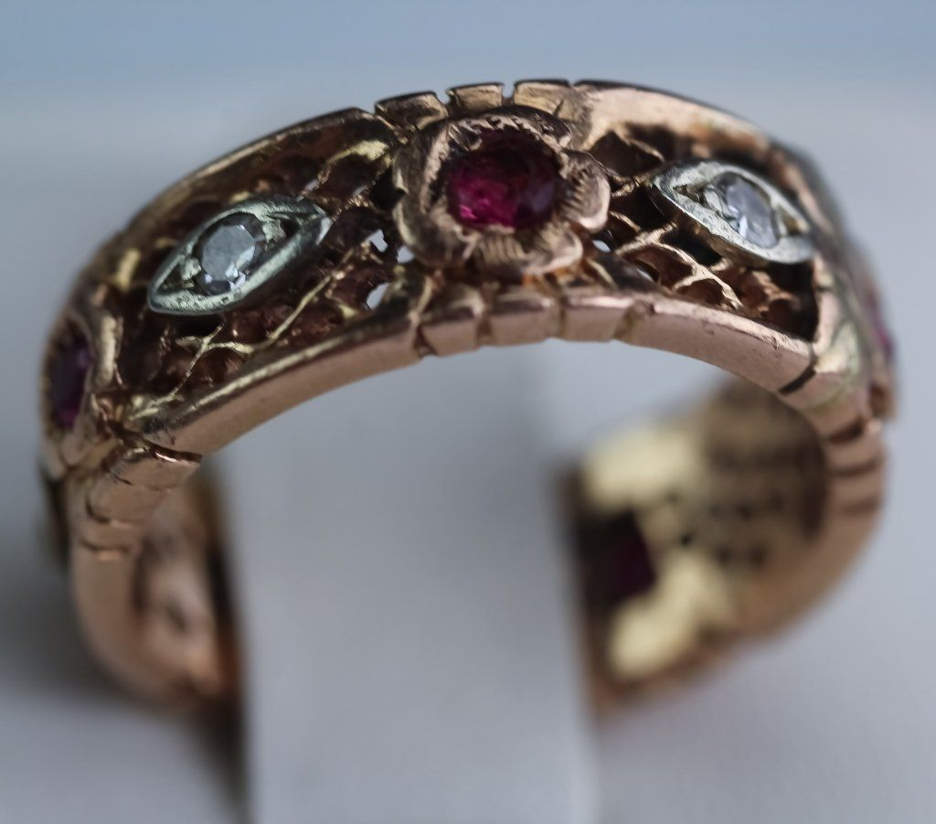 Art Deco Diamond & Ruby Rose Gold Reticulated Ring