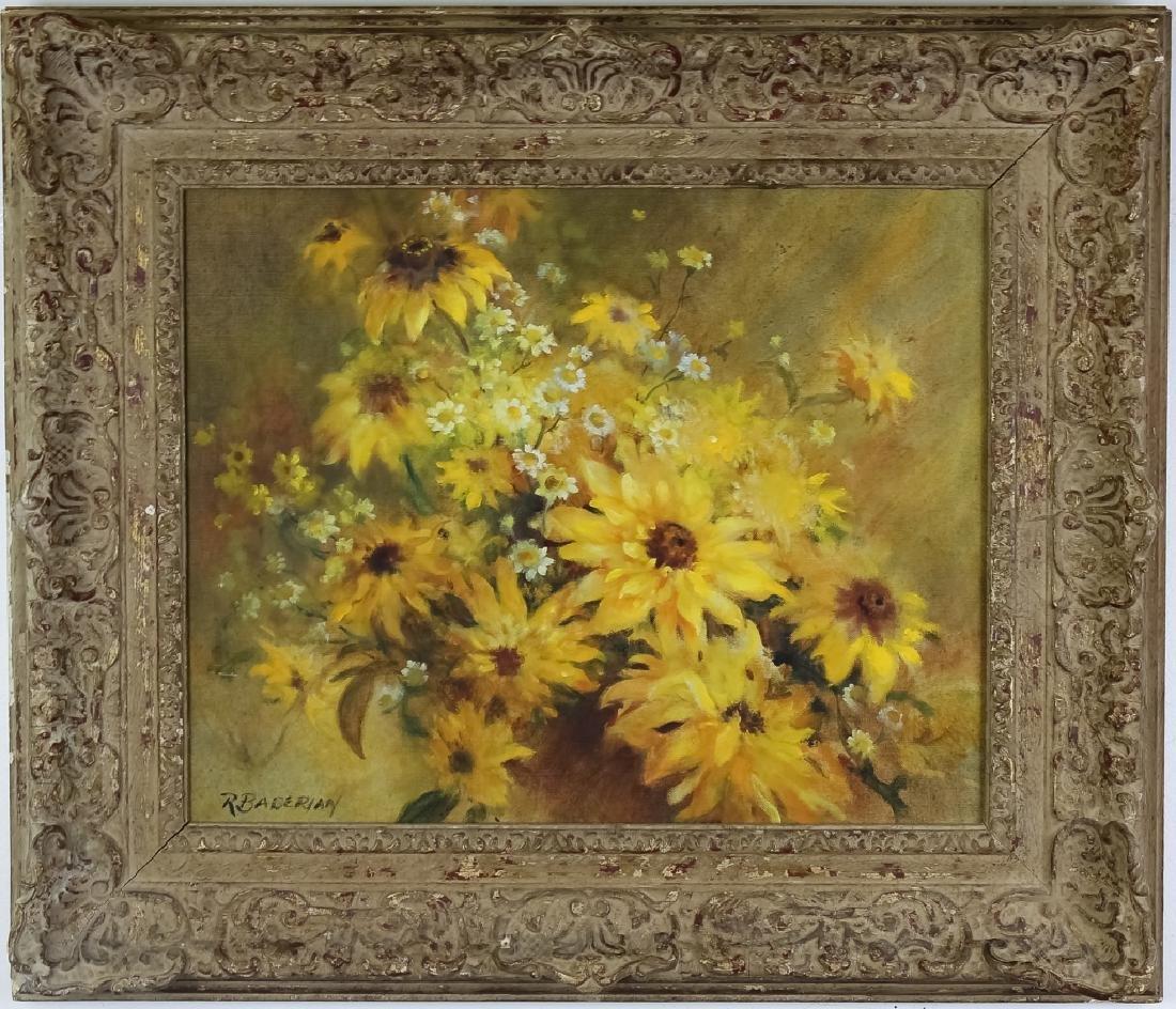 Ruth Baderian b1927 Floral Still Life Oil Painting