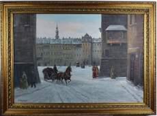 Russian Polish Winter Snow Landscape Oil Painting