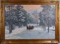 Russian Polish Winter Snow Landscape Painting HUGE