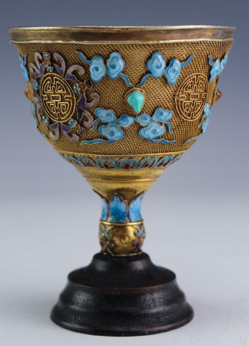 Chinese Antique Silver Filigree Enamel Wine Goblet