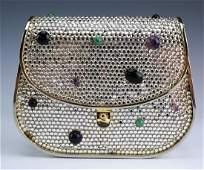 Judith Leiber Gemstone Crystal Minaudiere Handbag