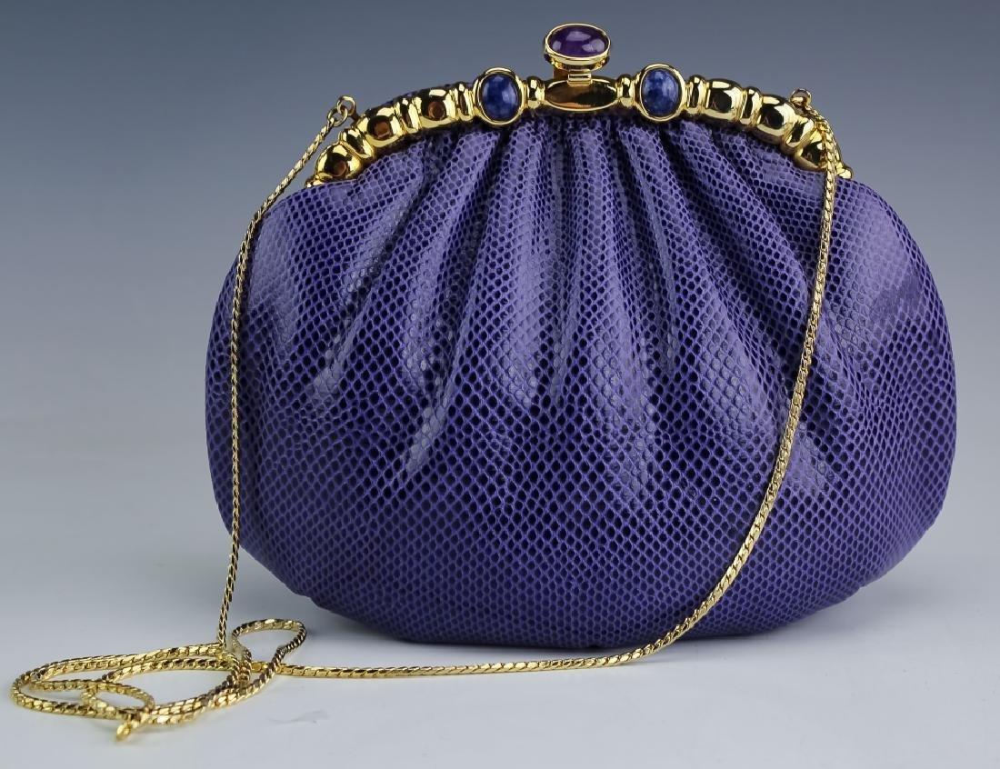 Judith Leiber Gemstone & Purple Snakeskin Handbag