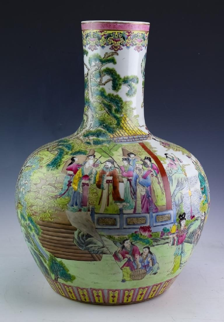 """Chinese Porcelain Famille Rose H-Painted 20"""" Vase"""