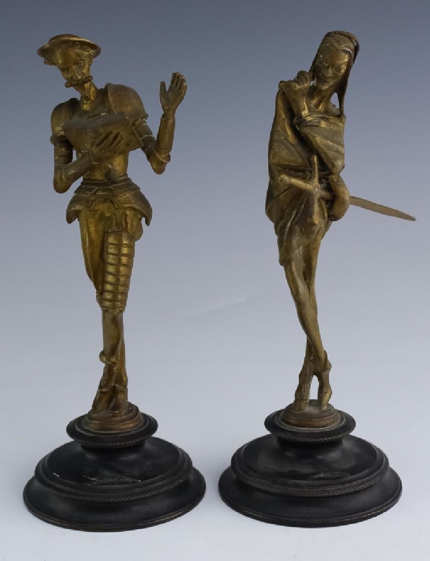 Fine Pair of Figural Brass Statue Don Quixote & Saytr