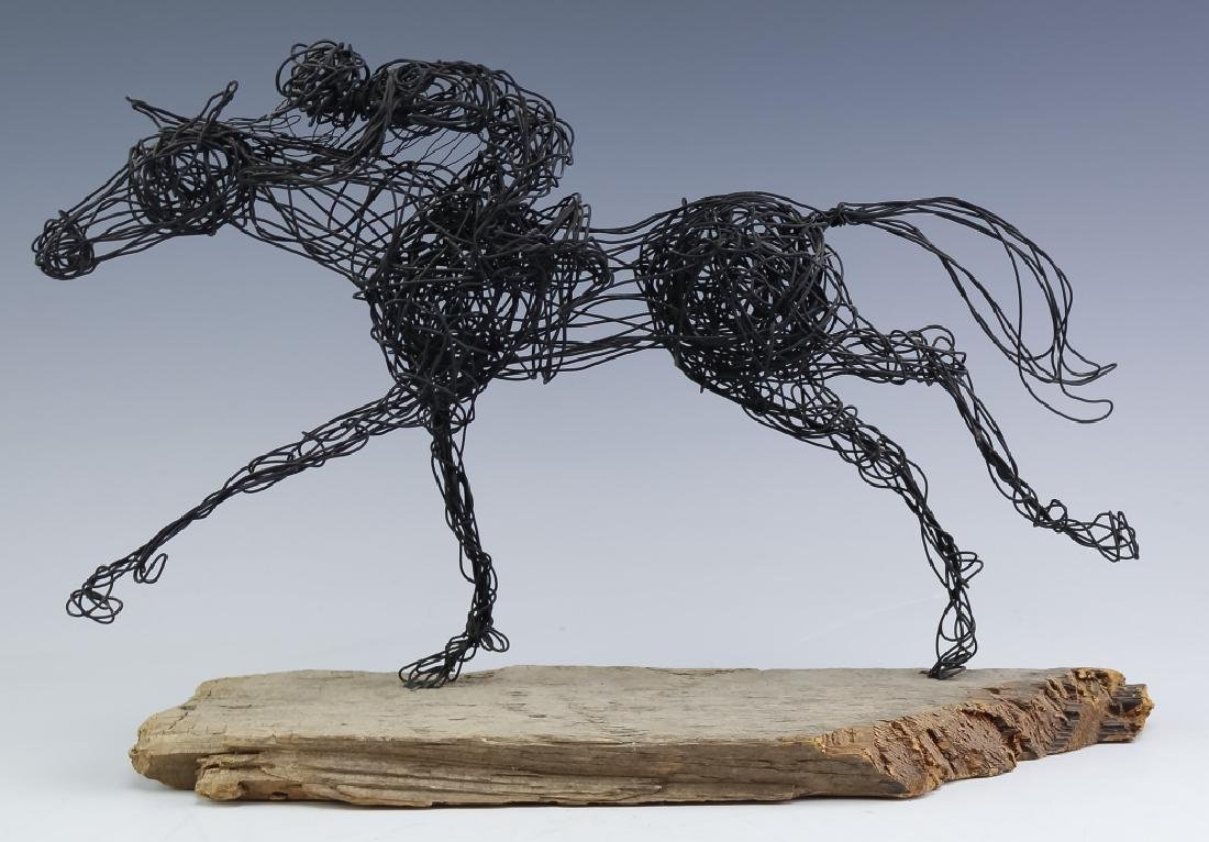 Al Barr 20th Cen American Race Horse Wire Art Sculpture