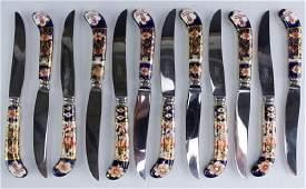 "Set 12 Royal Crown Derby Imari Fruit Knives 8"""