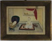 American Folk Art Child Portrait Painting 1800's