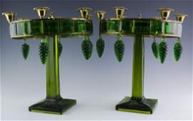 """Pair Art Deco Style Green Glass Candelabras 13"""""""