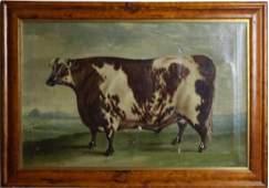Antique 19th Century Prize Cow Portrait Painting