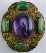 Old Chinese Amethyst Jade Court Brass Belt Buckle