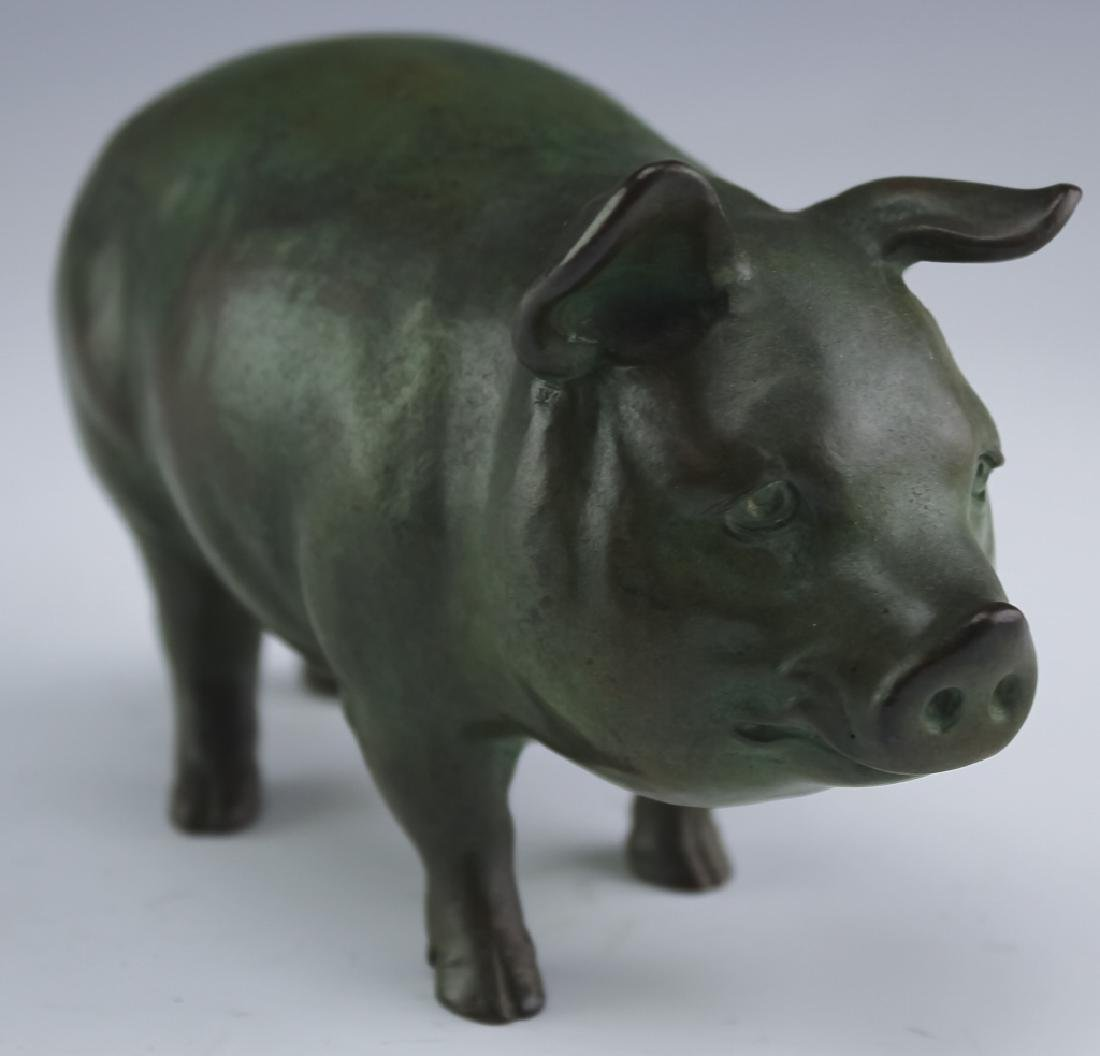 Chinese Character Marked Bronze Pig Sculpture FINE