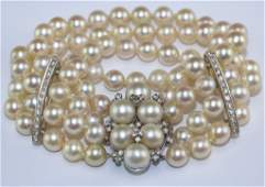 Art Deco 14k Diamond  4 Row Akoya Pearl Bracelet