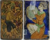 2 Antique Islamic Persian Figural Glazed Art Tiles
