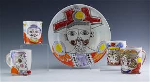 Vintage Desimone Italian Art Pottery Bowl & 4 Mugs