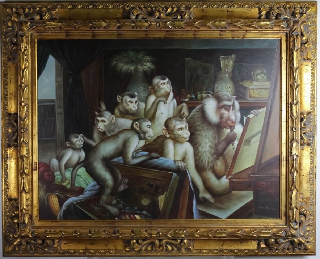 Modern Surreal Figural Primate Monkey Oil Painting