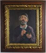MCM Religious Judaica Rabbi Portrait Oil Painting