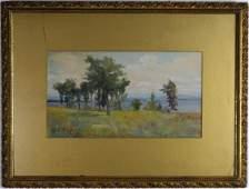Charles Partridge Adams Orig Watercolor Painting